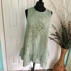 {Umgee} Sage Green Ruffle Boho Eyelet Lace Dress